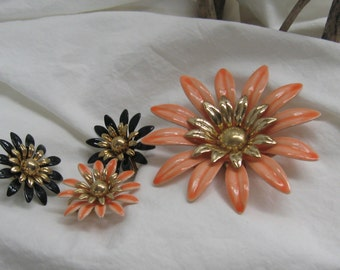 Vintage Sarah Coventry Fashion Petals Enameled Flower Brooch & 1 Earring in Peach.   2 Earrings in Black  1960s Floral Pin Clip Earring