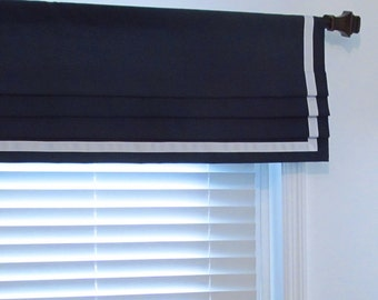 Bordered  Faux Roman Shade Navy Blue  Lined Mock Valance Ribbon Trimmed Custom Sizing Available!