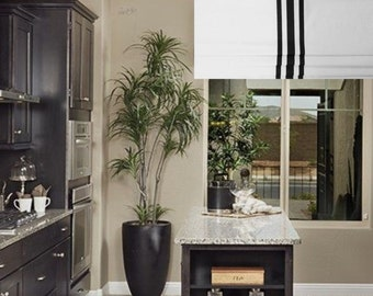 Contemporary Modern White Faux Roman Shade Vertical BLACK Ribbon Trimmed Original Design by SoD!