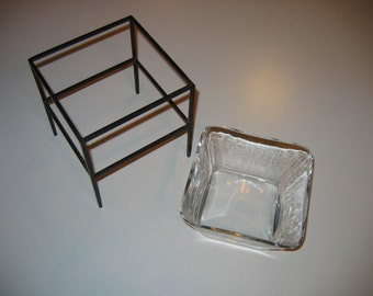 Vintage Square Clear Glass Dish and Black Metal Stand Set with Contemporary Look