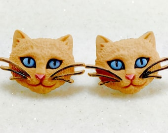 Cat Earrings, Kitty Earrings, Cat Lover Earrings, Animal Earrings, Cat Stud Earrings