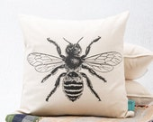 Clearance Bee Pillow - 16 inch Hand Screen Printed Decorative Throw Pillow
