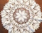 Vintage White Crocheted Doily, Crocheted Doily, Vintage Doilies, Round Doilies, Vintage For The Home, Vintage Home Decor