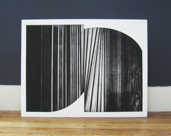 "Large Etching . Minimalist . Geometric . Black and White: ""BRIDGE "". Size 20"" x 26"". unframed"