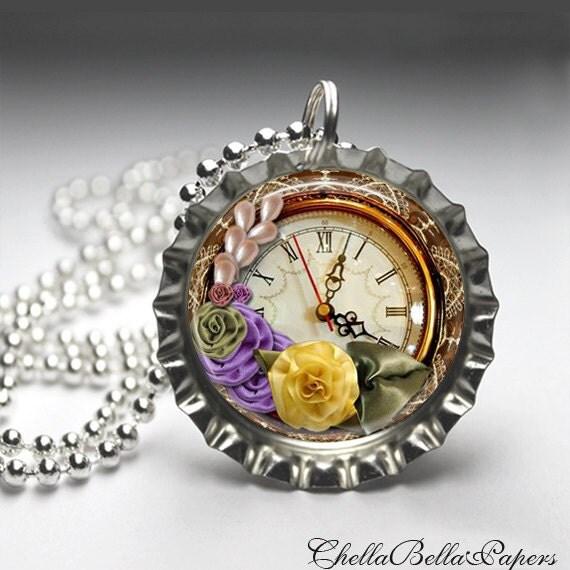 Vintage Altered Art, Pocket Watch Bottlecap Necklace, Bottlecap Pendant Jewelry, Free Ball Chain
