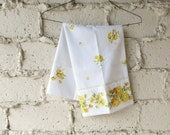 Vintage Yellow Pillowcase, Retro Floral Yellow Roses Daisies Eyelet Trim, White Standard Size Pillow Case