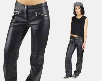 WILSONS Black LEATHER Straight Pants Vtg 80's Maxima Buttery Soft MOTO Biker Asymmetrical Zip Low Medium Waist Trousers - Small/Medium 4