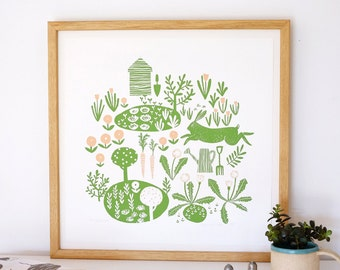 Allotment illustration Limited edition 45cm Giclee print