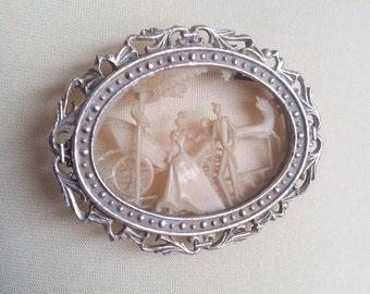 Plastic Pin Brooch Possibly Mid Century Celluloid Wedding