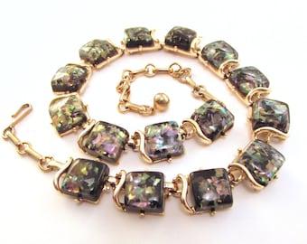 SALE Vintage Coro Confetti Lucite Collar Necklace - Black Squares with Iricescent Confetti - Mid Century