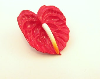 SALE Anthurium Flower Brooch - Red Tropical / Hawaiian Flower Pin - Signed  West Germany