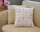 Pink and peach heart decorative pillow cushion. 1 cover for 18x18 pillow insert. Valentine's pillow pink pillow peach pillow throw pillow
