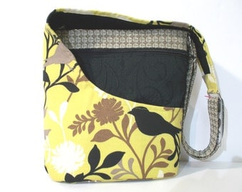 Cross Body Purse, Shoulder Bag, Bird Pattern