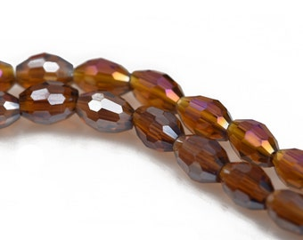 6mm Oval Rice Crystal Beads, Faceted TOPAZ AB Glass Crystal Beads, 72 beads, bgl1434