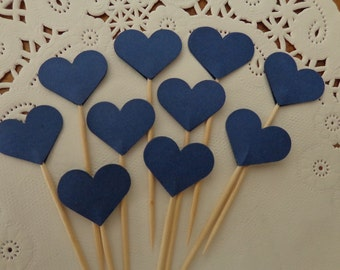 24 Navy Blue Heart Cupcake Toppers - Small Heart Party Picks - Food Picks - Wedding Decorations