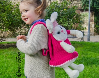 Olivia the Bunny Backpack - PDF Crochet Pattern - Instant Download - Bag Girl Animal