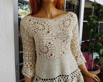 MADE TO ORDER off white top romantic cotton wonderful flattering lace top by golden yarn