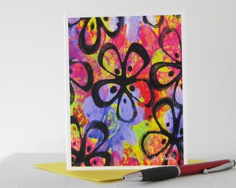 Watercolor Card // Printed Art Notecards // Retro Card