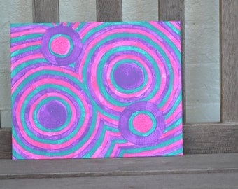 "Original Painting - 8"" x 10"" Canvas Panel - Autism Awareness - Acrylic Painting"
