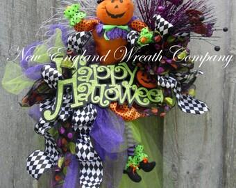Halloween Wreath, Fall Wreath, Elegant Halloween Wreath, Halloween Party Decor, Whimsical Halloween, Pumpkin Wreath