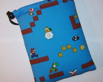 "Pipe Pouch, Mario Brothers Bag, Pipe Case, Pipe Bag, Glass Pipe Cozy, Padded Pipe Pouch, Gadget Bag, Gift for Him, Smoke Bag - 7"" DRAWSTRING"