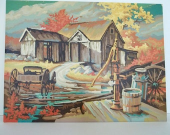 Vintage Paint By Number Fall Autumn Scene Barn Buggy Water Pump