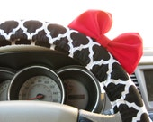 Steering Wheel Cover Bow, Black and White Moroccan Tile Steering Wheel Cover with Bright Red Bow BF11213