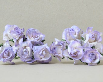 30  mm   / 10   Mixed Purple White  Paper  Rosebuds