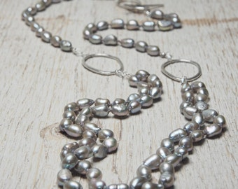 freshwater pearl necklace grey pearls long necklace with hammered sterling silver oval links and toggle clasp, ildiko jewelry