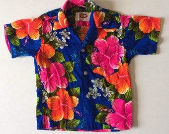 1960's Bright Floral Hawaiian Shirt (4t/5)