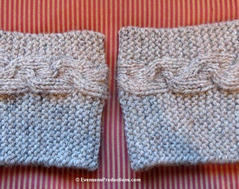 Boot Cuffs - Boot Liners - Boot Toppers - Hand Knit Cable Braid Double Thickness Wool Blend - One Size Fits Most - Item 4506