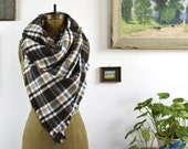 Plaid Blanket Scarf Wrap Thick Brushed Cotton Fringed Edges Brown, Beige, White, Blue