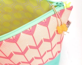 Chevron Arrows Large Cosmetic Bag, Pink Gift For Women, Eco Zipper Pouch, Geometric Diaper Bag Organizer, Recycled Make Up Bag, Glass Beads