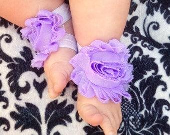 SALE Purple BABY GIRL Shabby Flower Sandals Barefoot Elastic Spring Summer newborn 0-3 mos baptism blessing lavender shower gift toe bloom