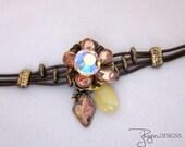 Bohemian Bracelet - Leather Bracelet - Boho Chic Bracelet - Metal Flower Bracelet - Mixed Media Jewelry