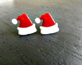 Santa Hat Stud Earrings Christmas earrings, Holiday jewelry
