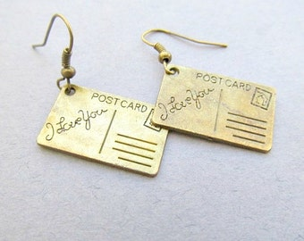 I Love You Post Card Dangle Earrings