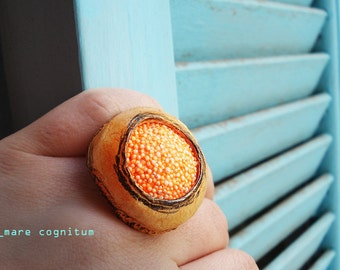 mare cognitum - sea that is known ooak adjustable clay ring polystyrene pastel hues orange sunshine spring
