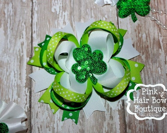 St. Patrick's Day Hair Bow - Shamrock Hair Bow  - Clover Hair Bow - Baby's First St. Patrick's Day - Pink Hair Bow Boutique