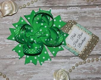Green Boutique Hair Bow, Green Swiss Dot Boutique Hair Bow, 4 inch Boutique Stacked Hair Bow