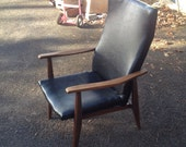 Attributed to Milo Baughman Black Vinyl Chair