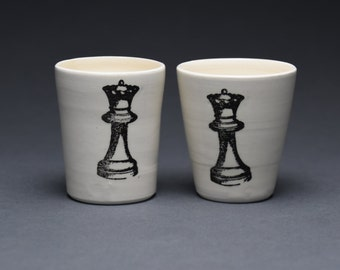Set of 2 Chess Piece Ceramic Tumblers