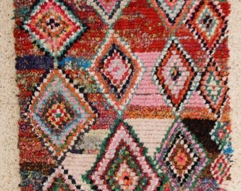 220x130 CM (7,2x4,3 feet) FREE SHIPPING worldwide  T26260 boucherouite , boucharouette,  moroccan rugs , berber rugs, morocco carpets