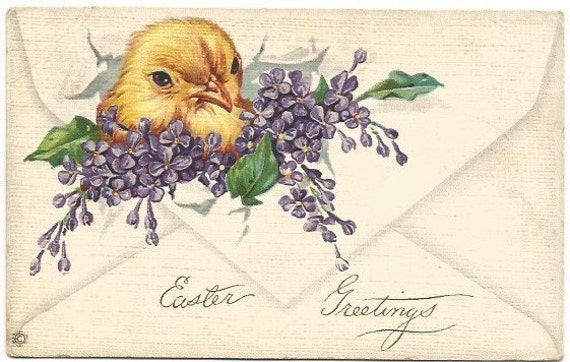Chick Hatching through Envelope with Sprays of Lilac Vintage Postcard Easter Greeting