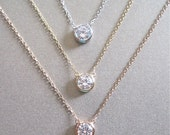 Solitaire Diamond Necklace - Valentine's Day Gift - Diamond Necklace - Floating Diamond - Gold Necklace - Silver Necklace
