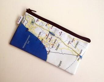 Israel Map Pencil case zipper pouch Souvenir from Israel
