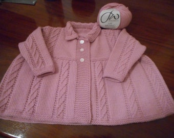 Pink Merino Scottish Hand knit Baby Coat  knitted to fit ages 12 to  to 18 months + and bonnet