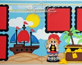 2 Premade Scrapbook Pages Pirate Treasure Island Boy Girl 12x12 Layout Paper Piecing Handmade 61
