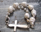 50% off! Reserve for Wendy: Sterling Cross and Fresh Water Pearl Bracelet