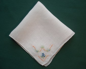 Vintage Handkerchief/Hankie White with  Blue, Peach and Green Flower  Design - Emily